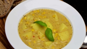 Lemon spiked Potato Corn Soup