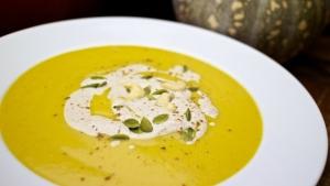 Spiced Pumkin Soup with Cinnamon Cream