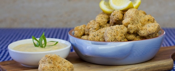 Schnitzel Style Cauliflower Nuggets with Dijon Cashew Sour Cream