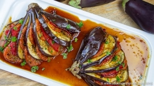 oven roasted filled eggplant with maple balsamic glaze