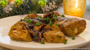 mini seitan roasts with no cook stuffing and instant mushroom gravy