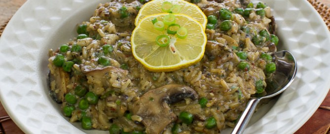 cheater pea and mushroom risotto