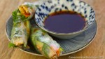 vegan rice paper spring rolls with asian dipping sauce