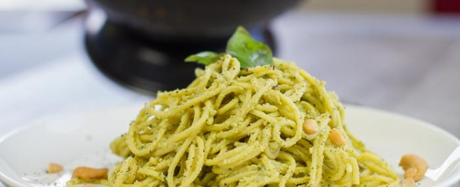 plant based creamy avocado cashew pesto spaghetti