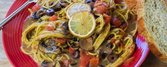 oven baked Mediterranean mushroom spaghetti