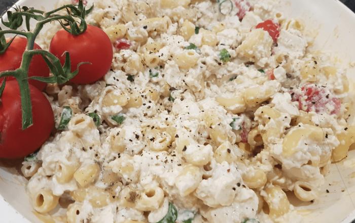 vegan mac and cheese tofu scramble
