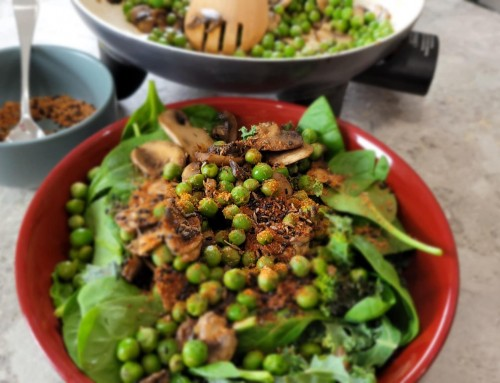 Dukkah Mushrooms with Peas & Fresh Greens!
