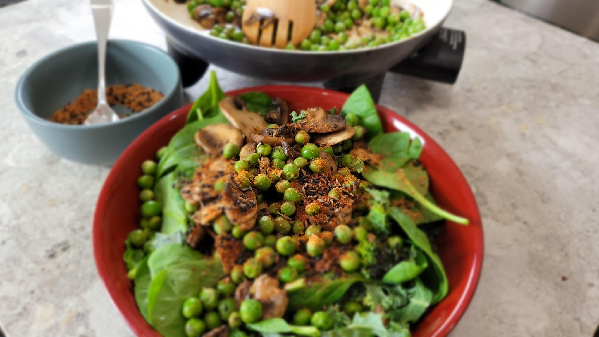 dukkah mushrooms with peas and fresh greens