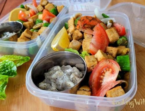 Tofu Greek Salad With Coconut Tzatziki… You Won't Believe It's Vegan!