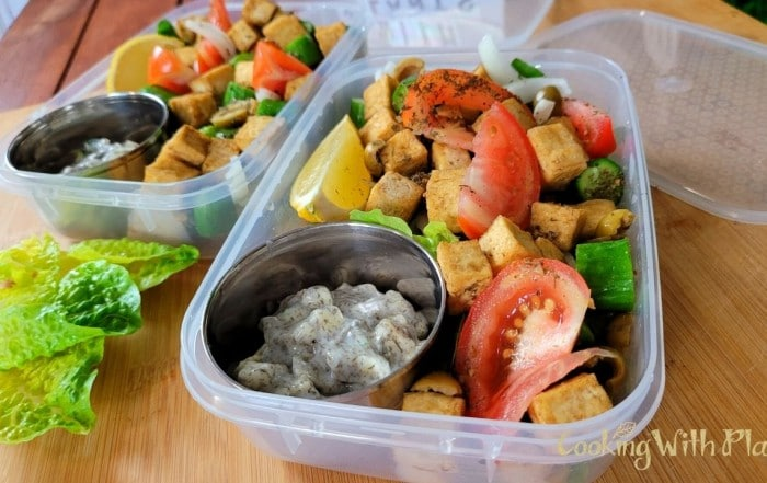 meal prep, tofu greek salad, vegan tzatziki