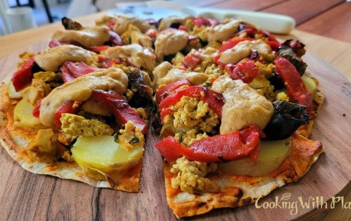 vegan breakfast pizza, no knead pizza